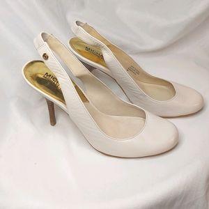 Michael Kors Cream Leather Slingback Stilettos